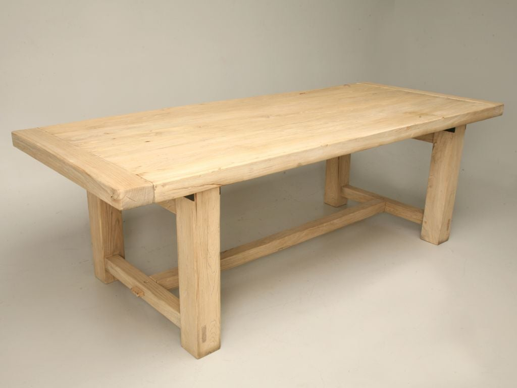 Bleached Elm Wood Dining Table At 1stdibs