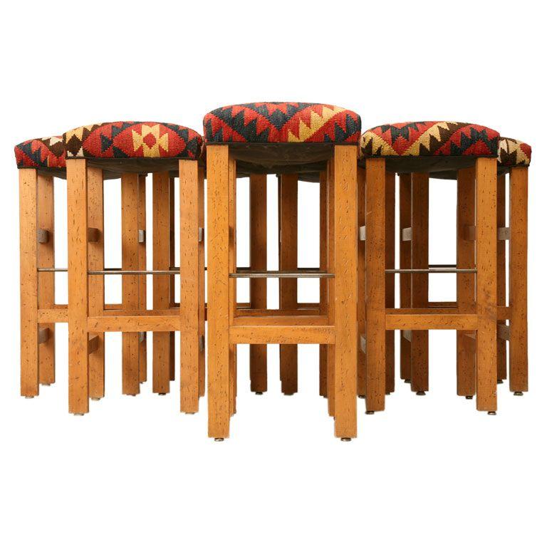 Classic Set Of Six Vintage Kilim Seated Bar Stools At 1stdibs