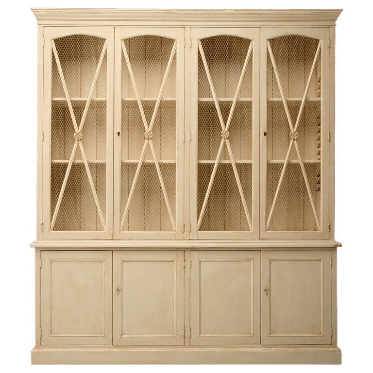 Chicken Wire Kitchen Cabinet Doors: Directoire Style Painted China Cabinet W/ Chicken Wire Doors