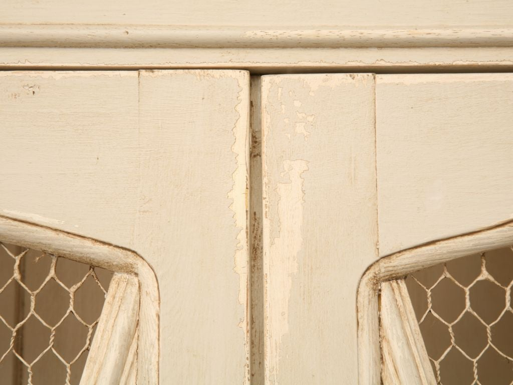 Directoire Style Painted China Cabinet w/ Chicken Wire Doors at 1stdibs