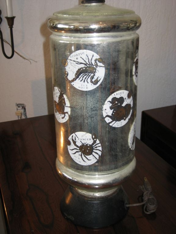Mercury Glass Lamp With Zodiac Design At 1stdibs