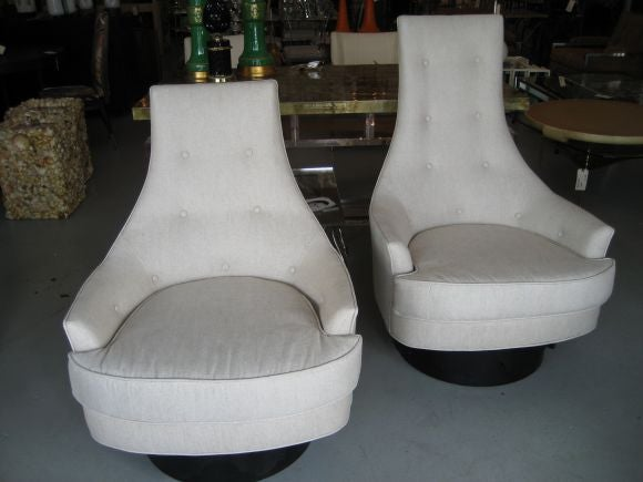 Pair Of Mid Century His And Hers Swivel Chairs At 1stdibs