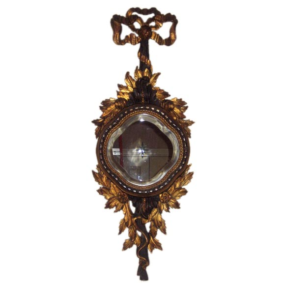 Hand Carved Wood Gilt Mirror with Carved Glass