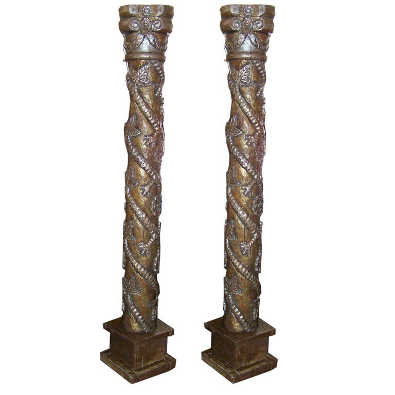 Pair of hand carved wood columns at 1stdibs for Decorative support columns