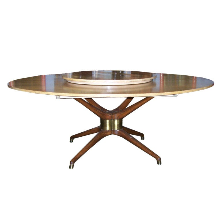 Large Oval Dining Table With Lazy Susan At 1stdibs