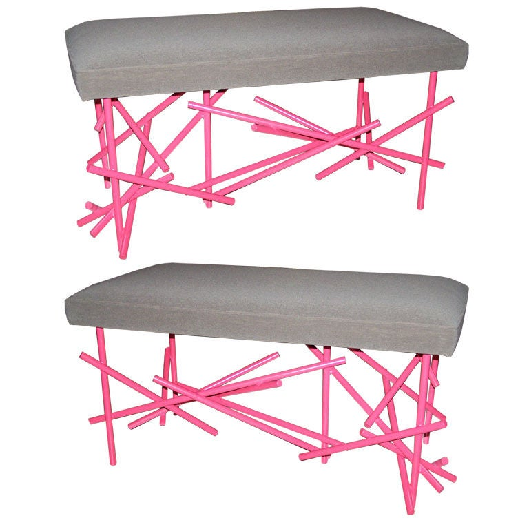 Pair of painted wrought iron benches :  pink coral gray wrought iron