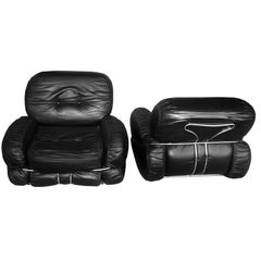 Pair of Italian Leather Armchairs by Adriano Piazzesi