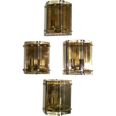 Set of Four Italian Smoked Glass Sconces