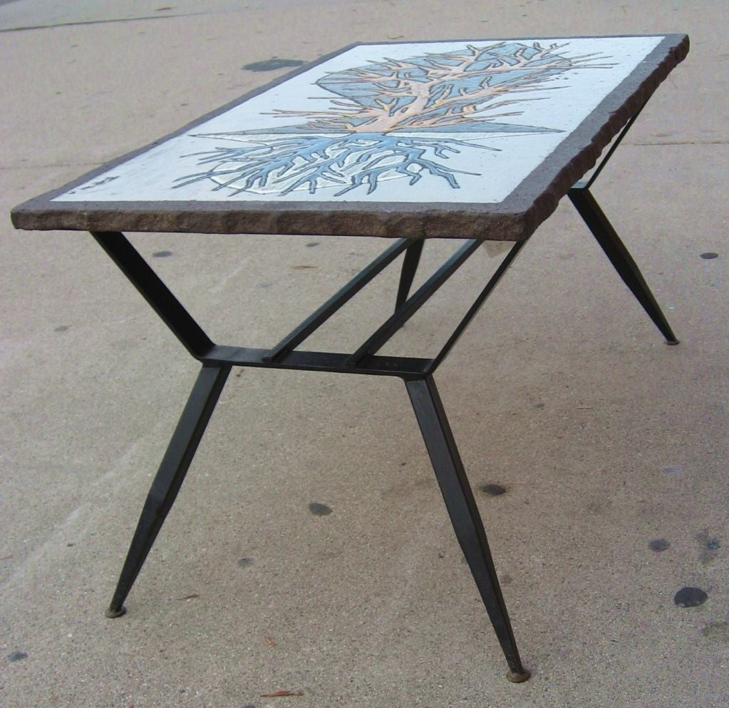 Unique enameled lava stone top end table at 1stdibs for Interesting table tops