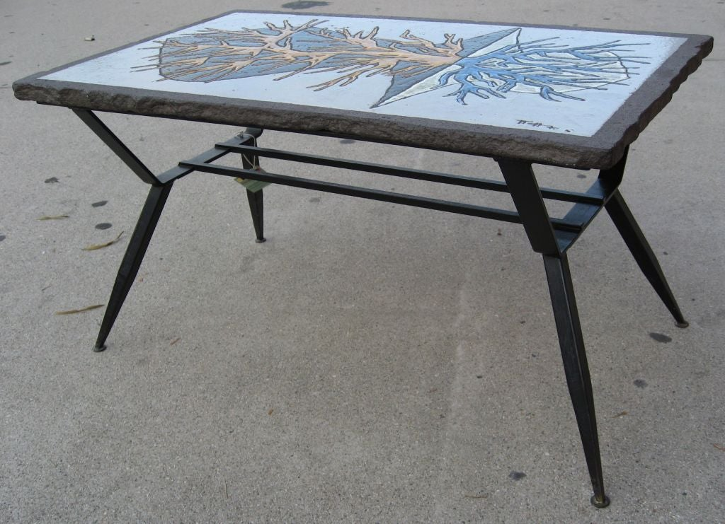Unique enameled lava stone top end table at 1stdibs for Creative table tops