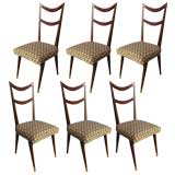 Set of 6 1950's chairs in the Style of Carlo di Carli