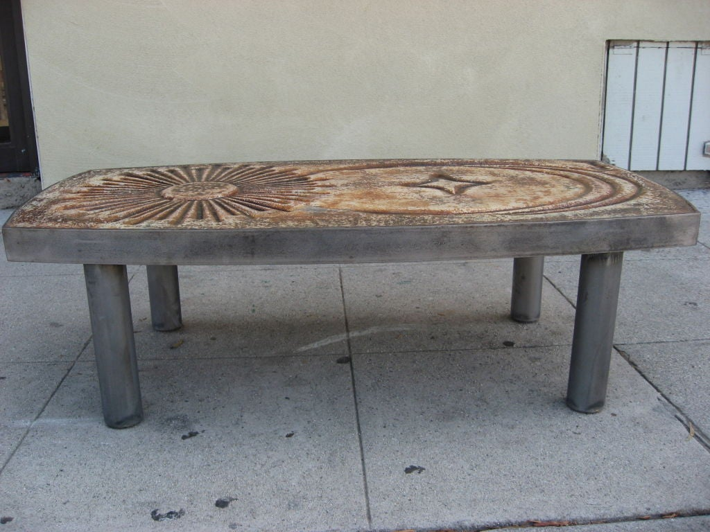 Lava Coffee Table With Sun Star And Moon Design At 1stdibs