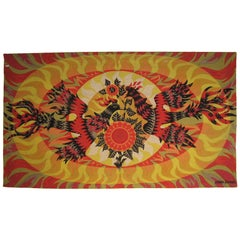 French Mid-Century Tapestry with Sun and Birds by Alain Cornic