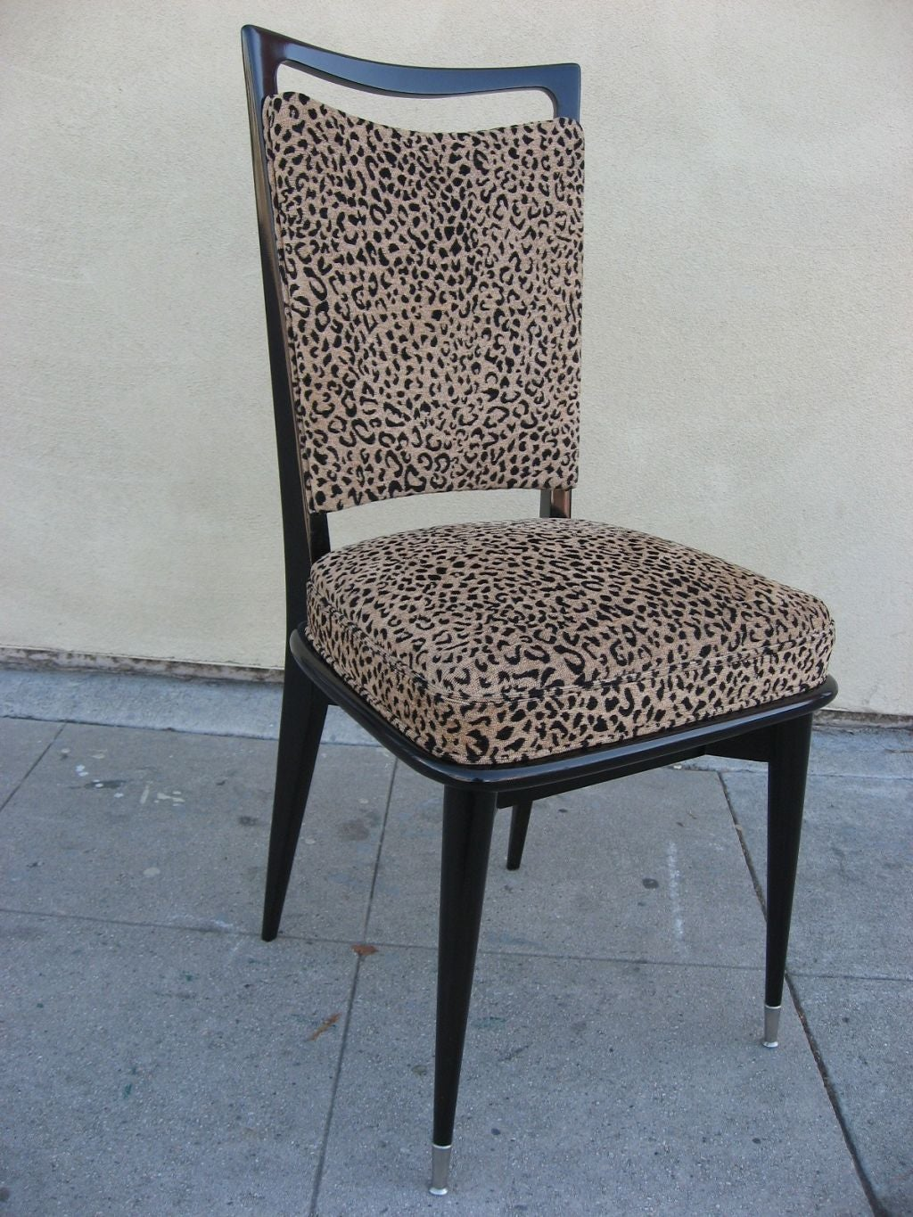 Set of 6 french 50 39 s leopard print chairs at 1stdibs for Dining room chairs 50