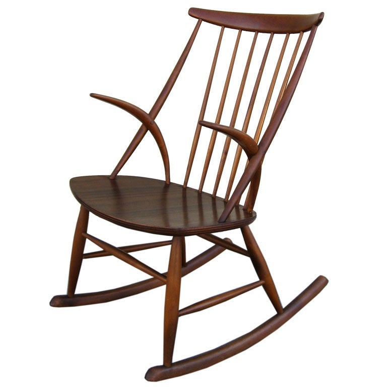 Rocking Chair by Illum Wikkelso at 1stdibs