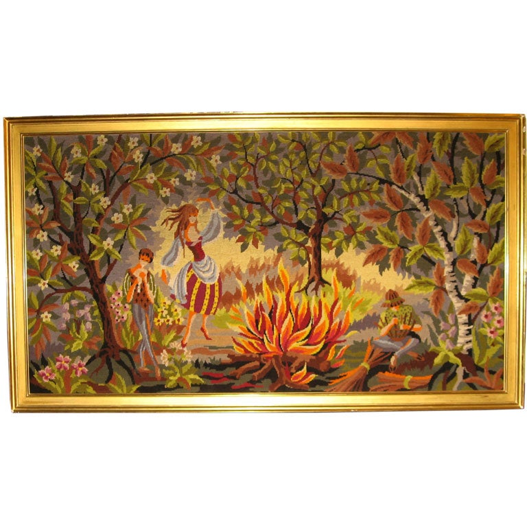 French Mid-Century Hand-Woven Tapestry with Rural Scene