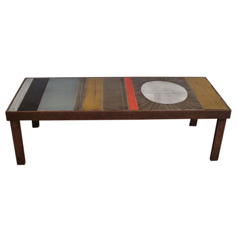 Rare Ceramic Coffee Table By Roger Capron At 1stdibs