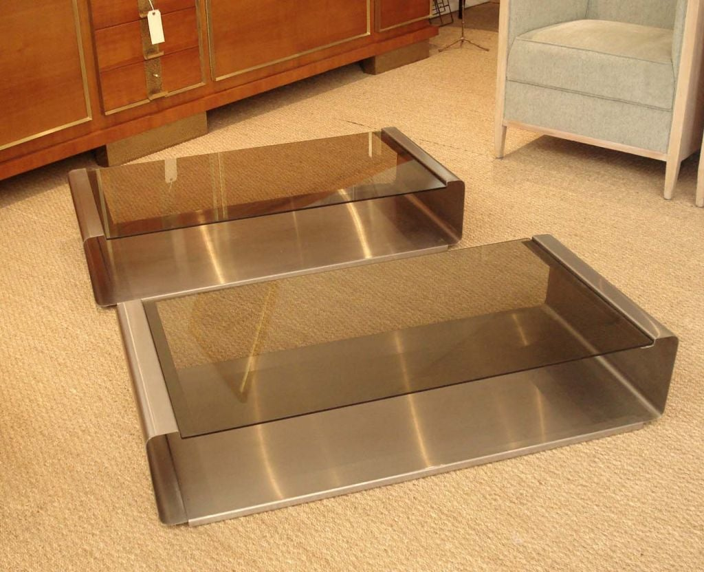 Pair Of Stainless Steel Coffee Tables By Francois Monnet At 1stdibs