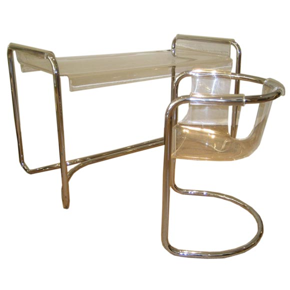 Lucite and chrome desk and chair at 1stdibs