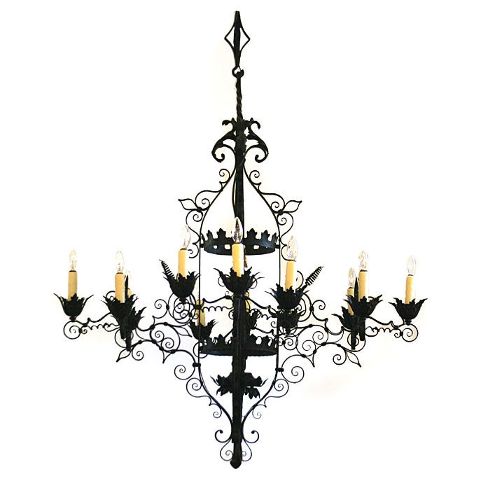 Red Aesthetic Chandelier: Spanish Cast Iron 12-Light Chandelier At 1stdibs