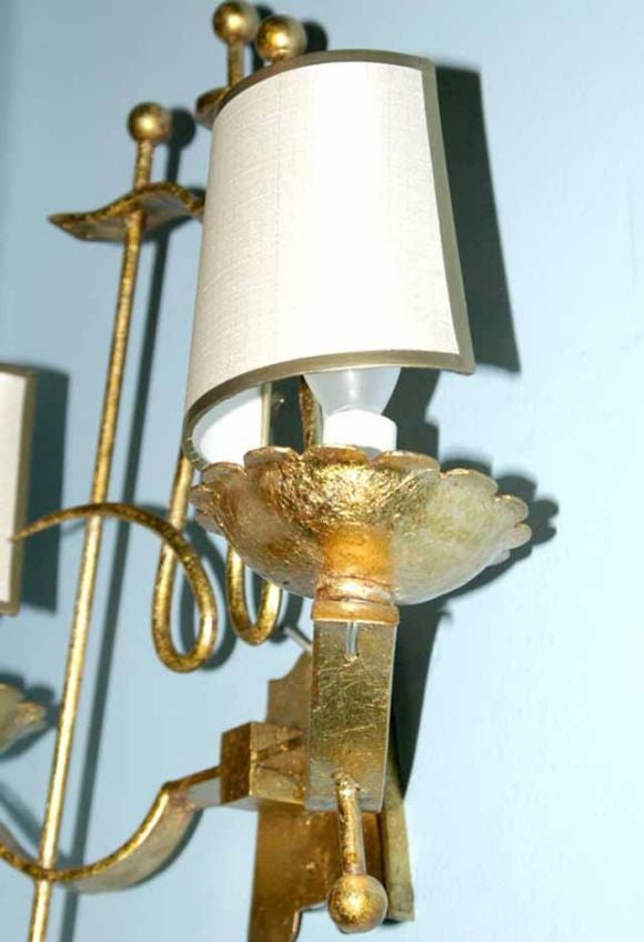 French Iron Wall Sconces : Pair French 40 s Gilded Iron Wall Sconces C1940 at 1stdibs