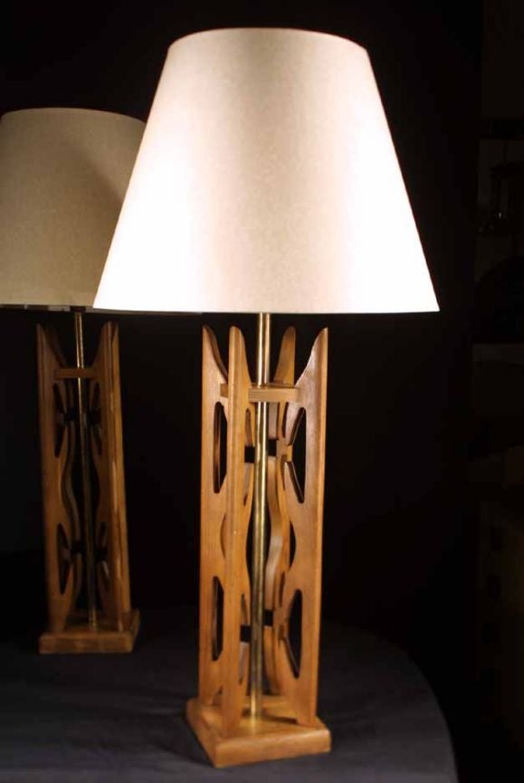 pair mid century modern wood lamps 1960 39 s at 1stdibs