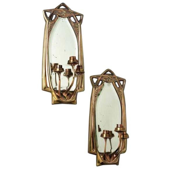 Best Brass Wall Sconces : Pair of Brass Art Nouveau Mirrored Wall Sconces, circa 1910 at 1stdibs