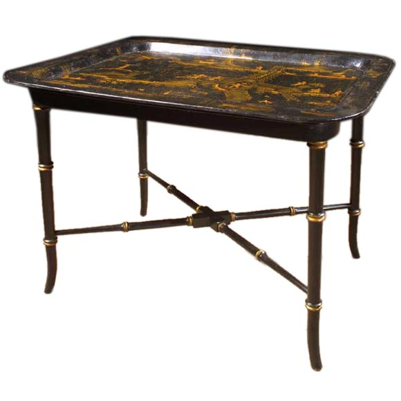 Victorian Black Lacquer Chinese Tray Table 19th Cent At