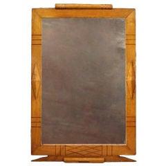 Grand Scale Art Deco Oak Mirror, circa 1940