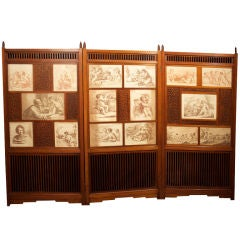 Unique Victorian 3 Fold Screen With Prints. Circa 1880