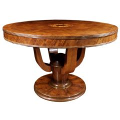 Parquetry and Floral Marquetry Center Table, Style of Leleu, French, 1940
