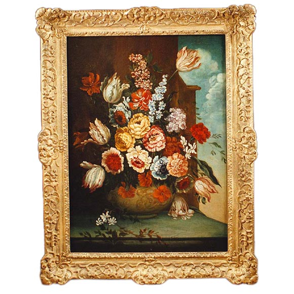 A Fine Italian Old Master Still Life Floral Oil Painting. 19th Century