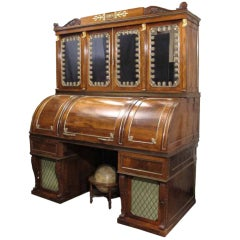 Important Regency Rosewood Cylinder Desk with Brass Details. English, Circa 1815