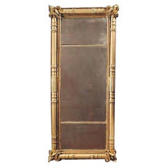 Dignified American Empire Giltwood Overmantel Mirror. Circa 1825