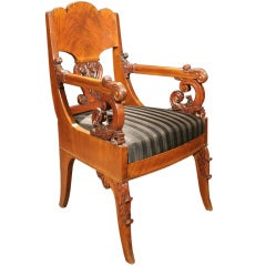 Handsome Russian Empire Neoclassical Mahogany Armchair, Circa 1820