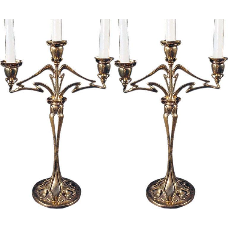 Graceful Pair Of Art Nouveau Brass Candelabras Circa 1900