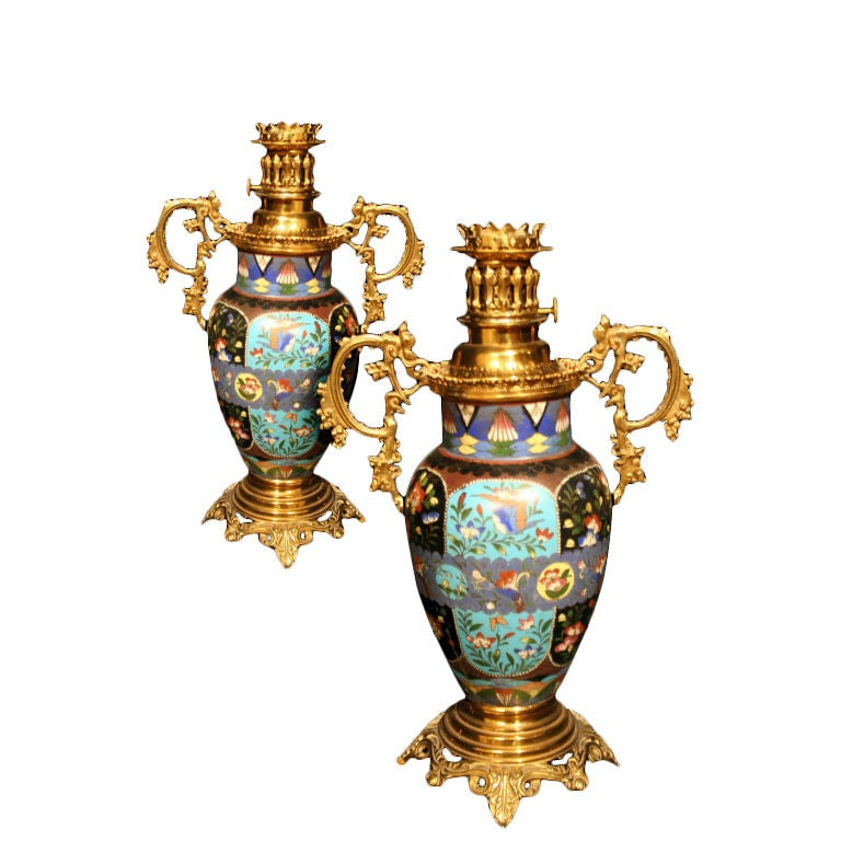 decorative pair french cloisonne lamps circa 1880 at 1stdibs. Black Bedroom Furniture Sets. Home Design Ideas