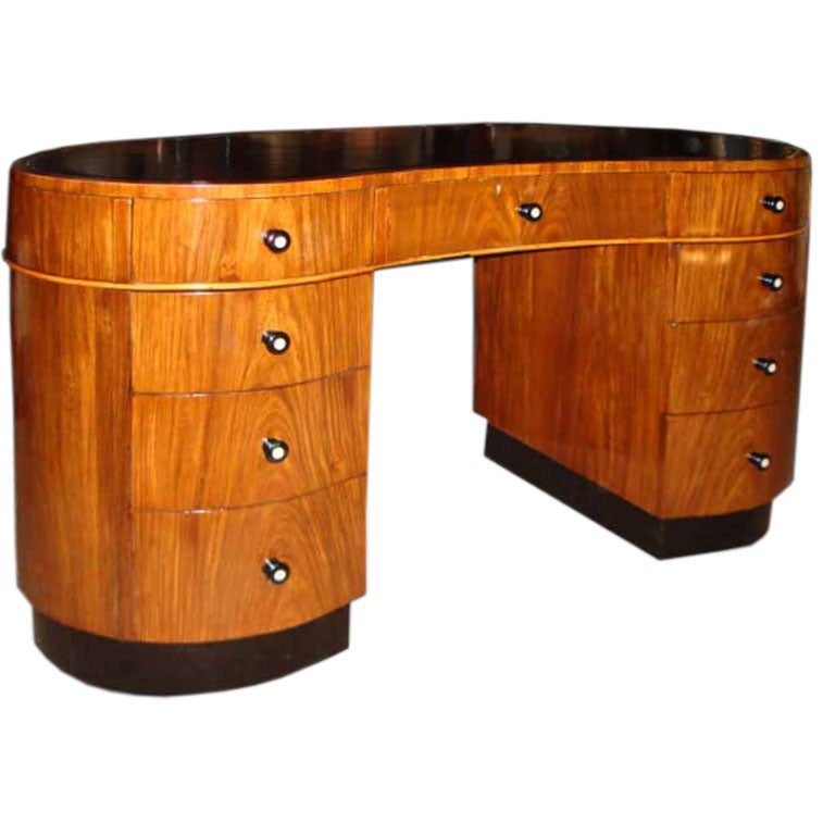 Art Deco Walnut Kidney Shaped Desk C 1930 S At 1stdibs