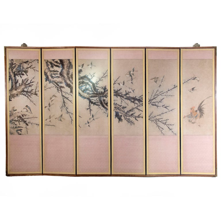 Hand Painted Silk Six Panel Screen - Japanese ca. 1880 at ...