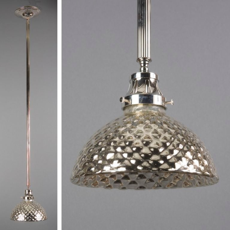 Quilted Mercury Glass Pendant At 1stdibs