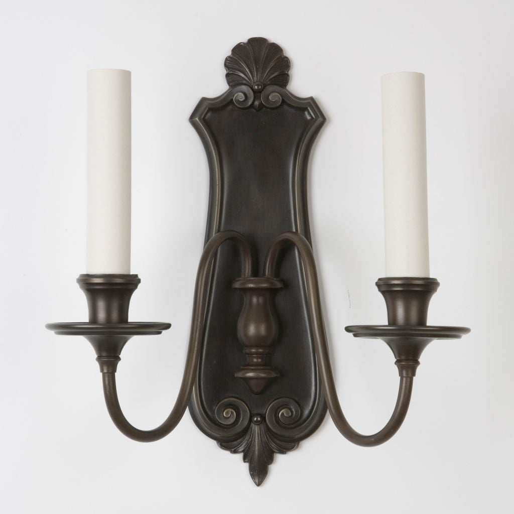 Dark Bronze Wall Sconces : A pair of two arm dark bronze sconces at 1stdibs