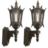 Pair of dark bronze exterior wall lanterns