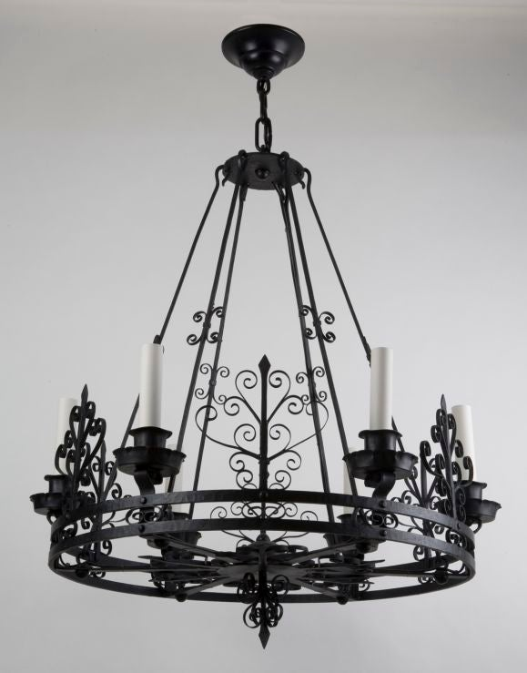 Six light black iron scroll chandelier at 1stdibs
