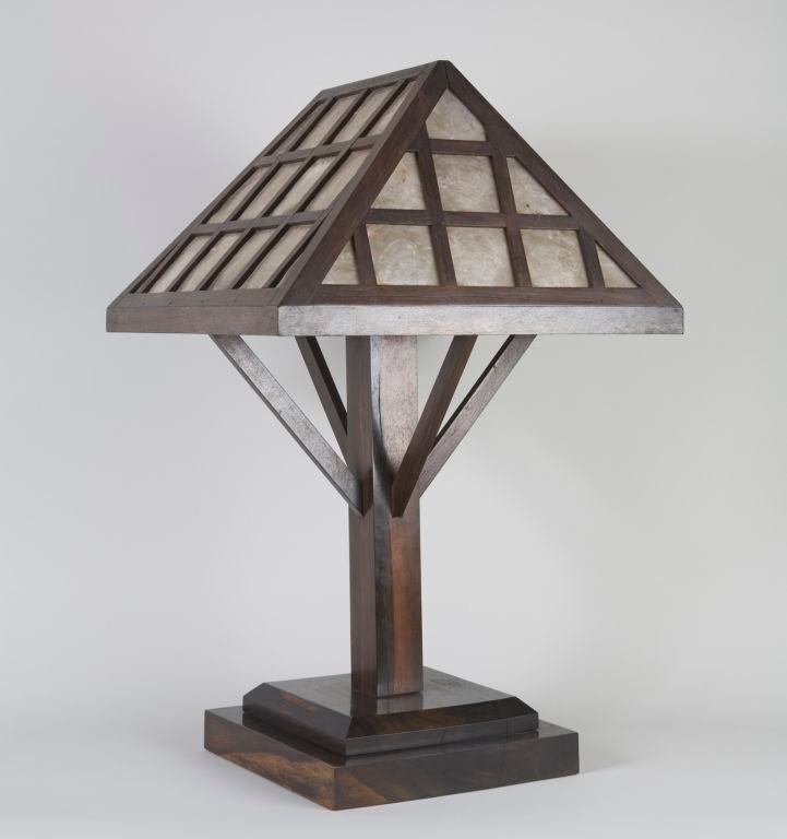 rosewood and capiz shell arts and crafts table lamp at 1stdibs. Black Bedroom Furniture Sets. Home Design Ideas