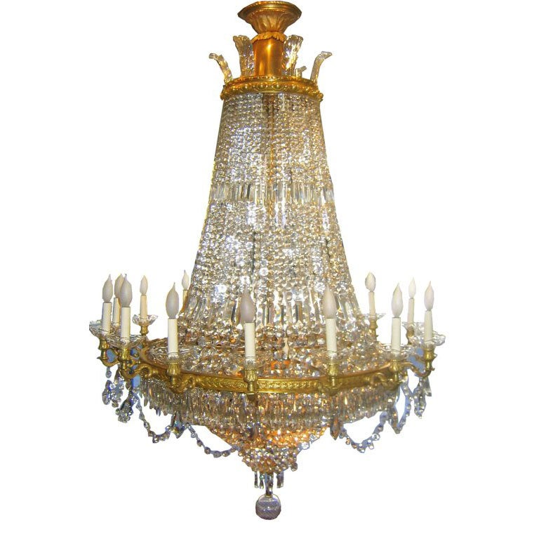 French Bronze and Crystal Chandelier For Sale at 1stdibs