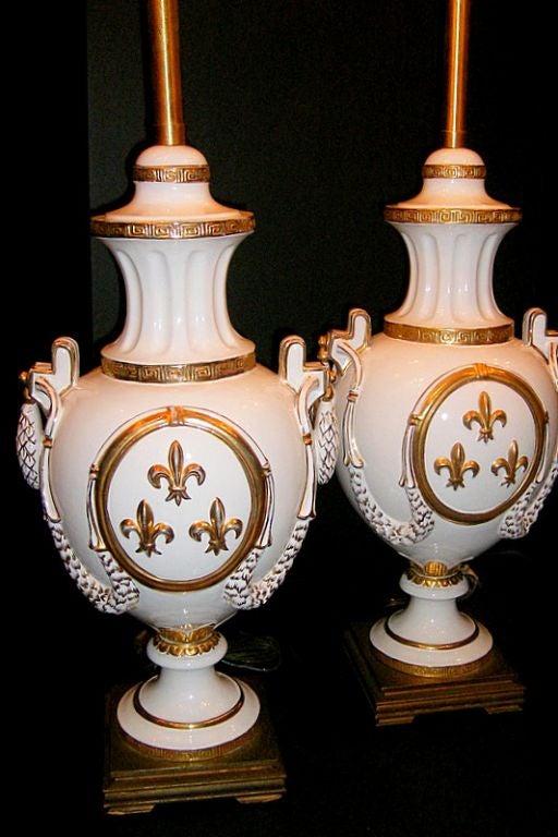 Fleur De Lis Motif Porcelain Table Lamps For Sale At 1stdibs