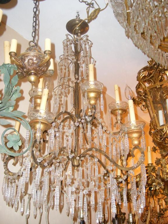 19th Century Gilt Metal Chandelier For Sale