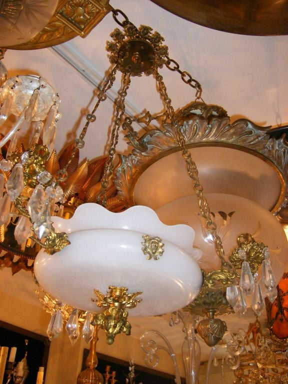 Opaline Glass Hanging Light Fixture For Sale At 1stdibs