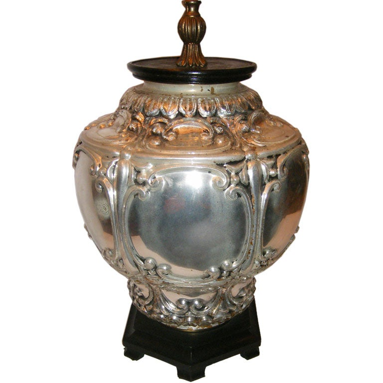 this circa 1920 italian mercury glass lamp with wooden base is no. Black Bedroom Furniture Sets. Home Design Ideas