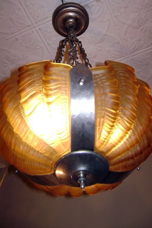 Deco glass shells light fixture at 1stdibs for Shell ceiling light fixtures